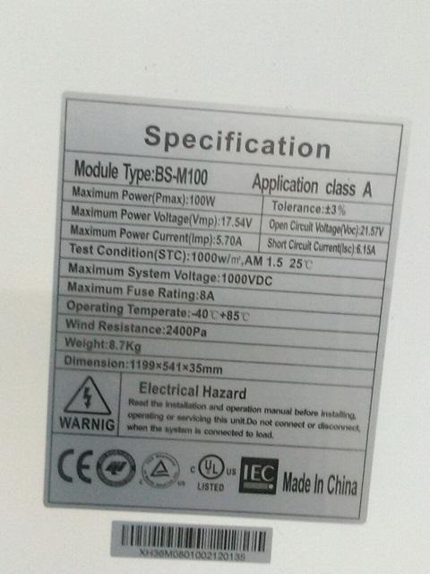 BLUESUN BSM-100 панели солнечные